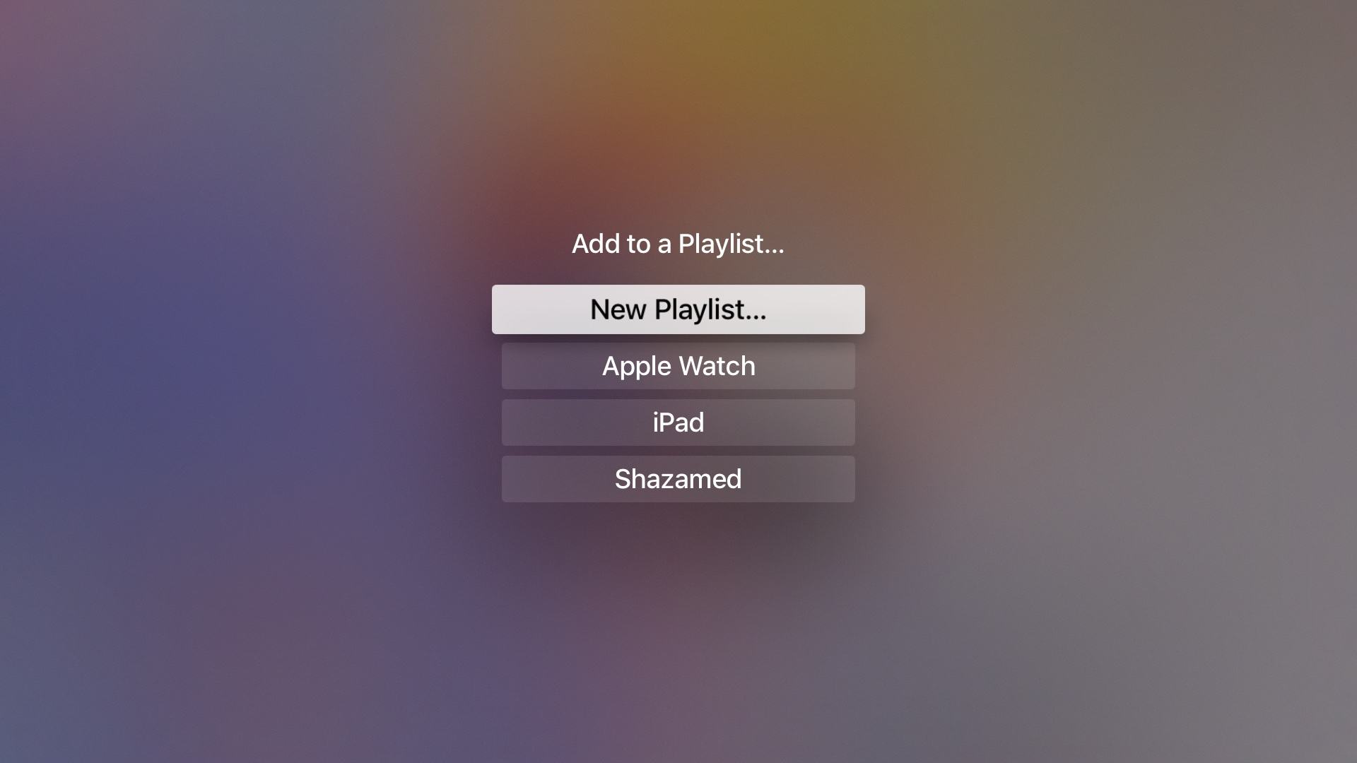 tvOS 10 beta 3 Music add song to playlist Apple TV screenshot 003