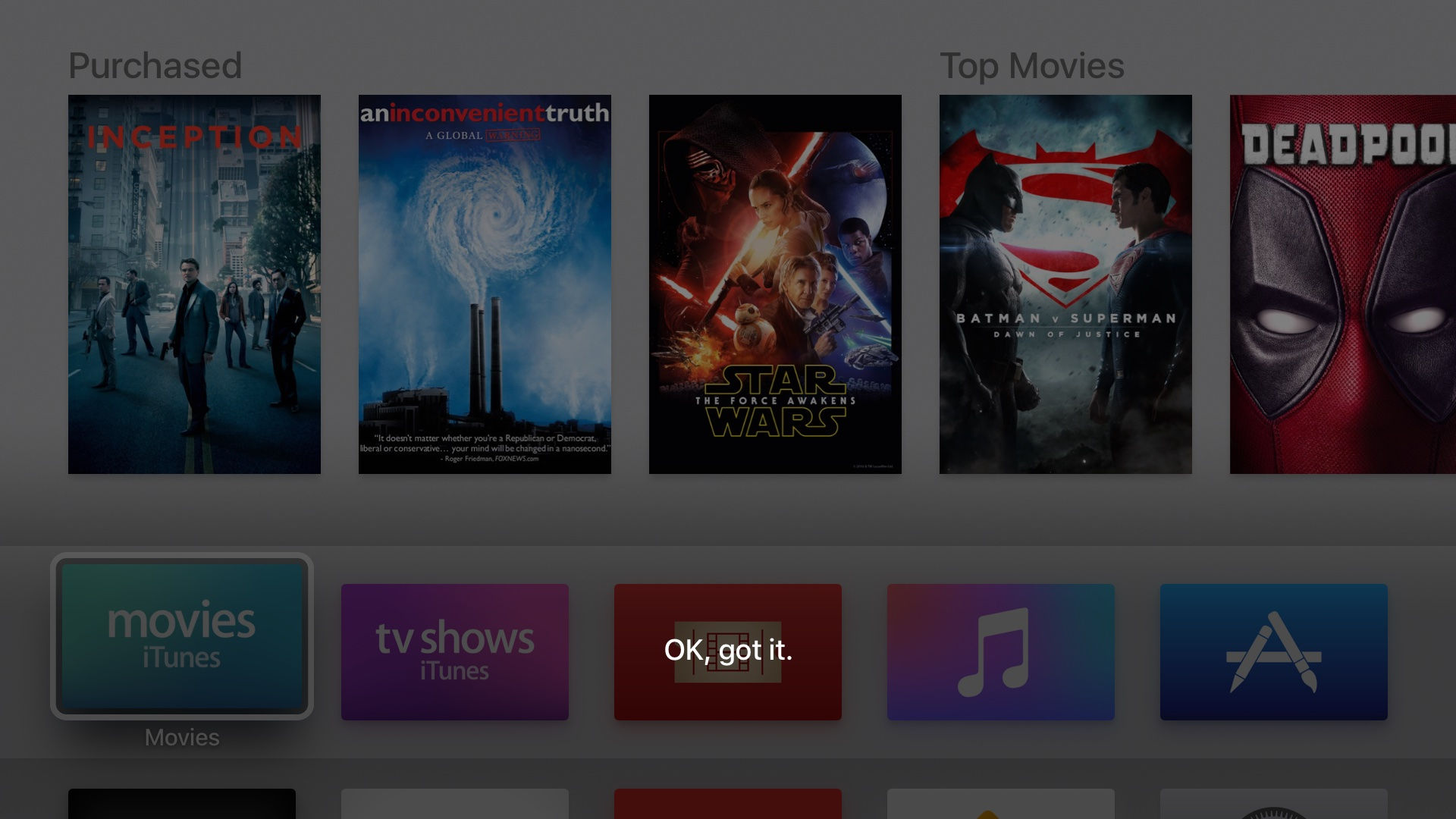 tvOS 10 beta 3 Siri like song Apple TV screenshot 001