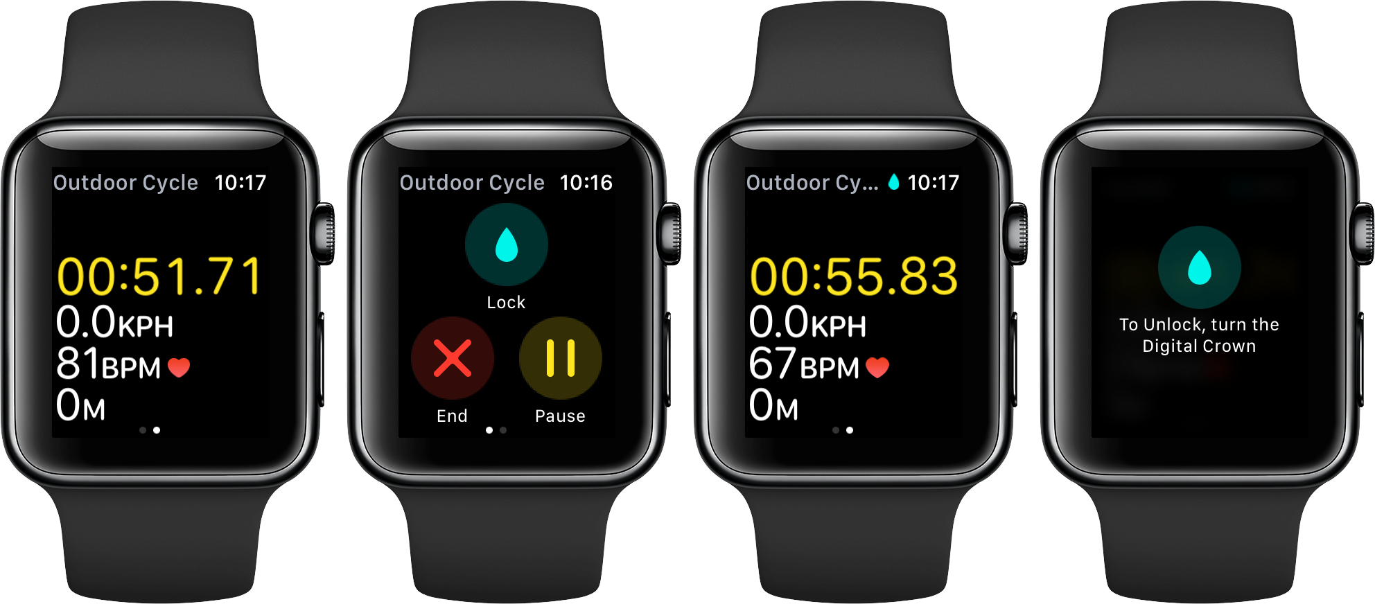 watchOS 3 Workout lock space gray Apple Watch screenshot 001