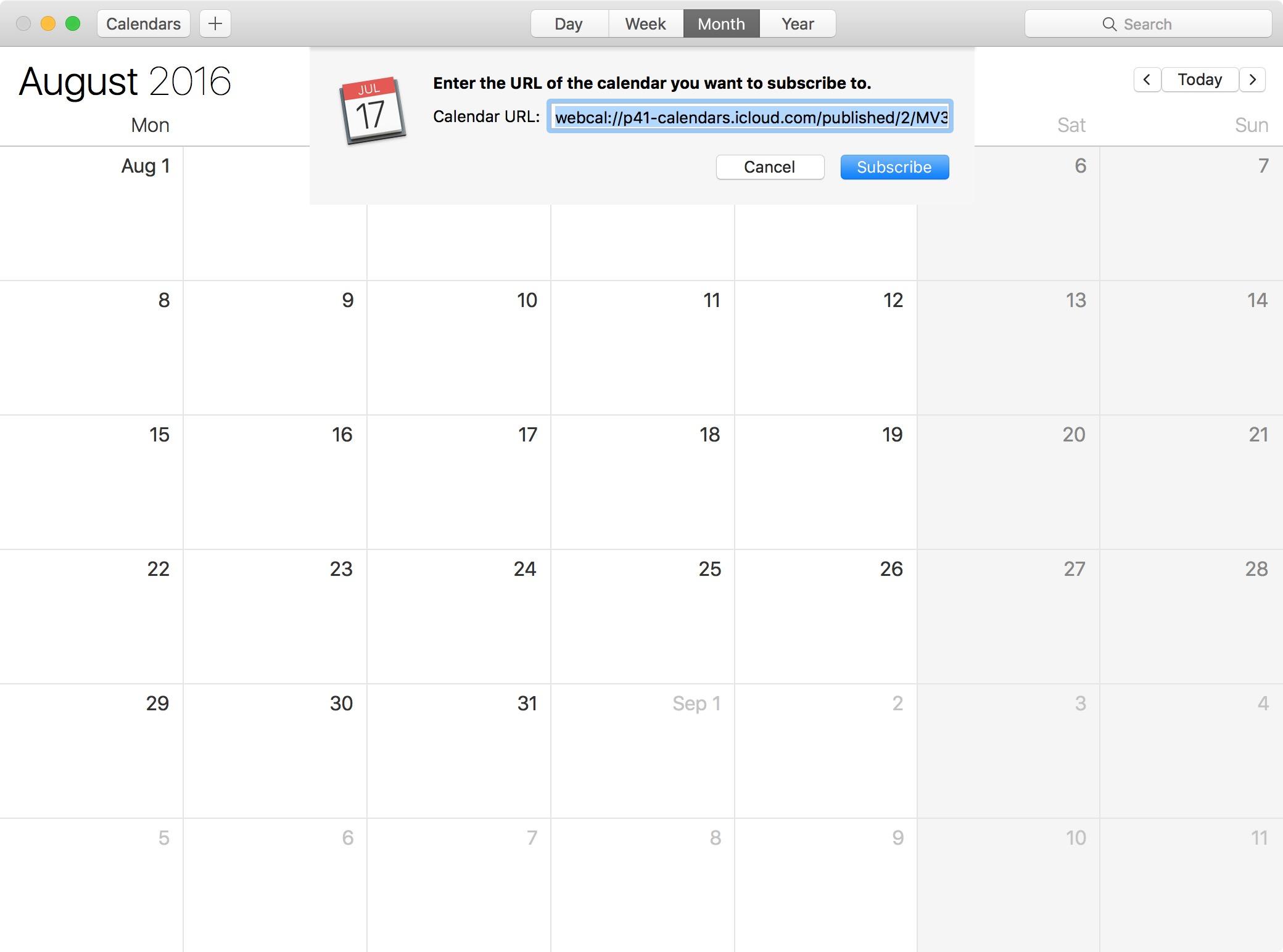 2016 Rio Olympics calendar Mac 1