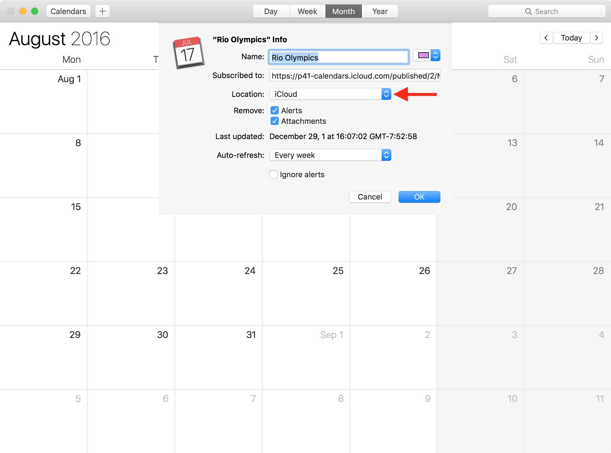 2016 Rio Olympics calendar Mac 2