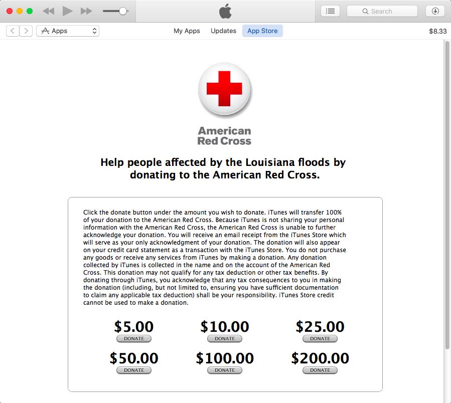 Apple Louisiana flood relief iTunes screenshot 001