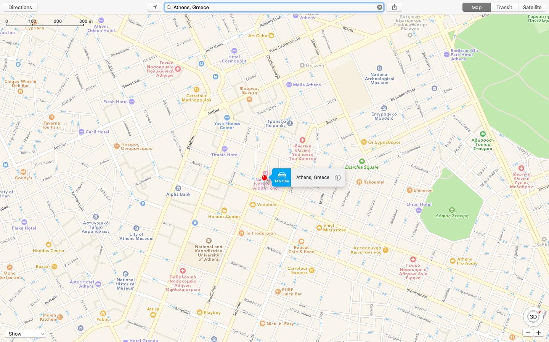 Apple MAps Athense Greece