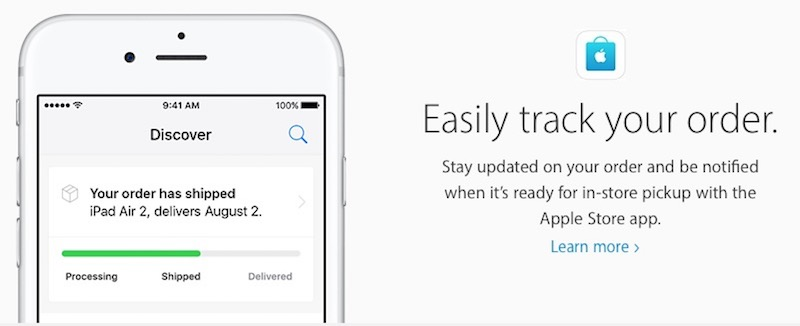 Apple Store easily track your order