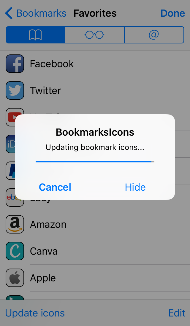 BookmarksIcons Updating Icons