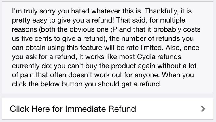 Cydia Automatic Refund 2