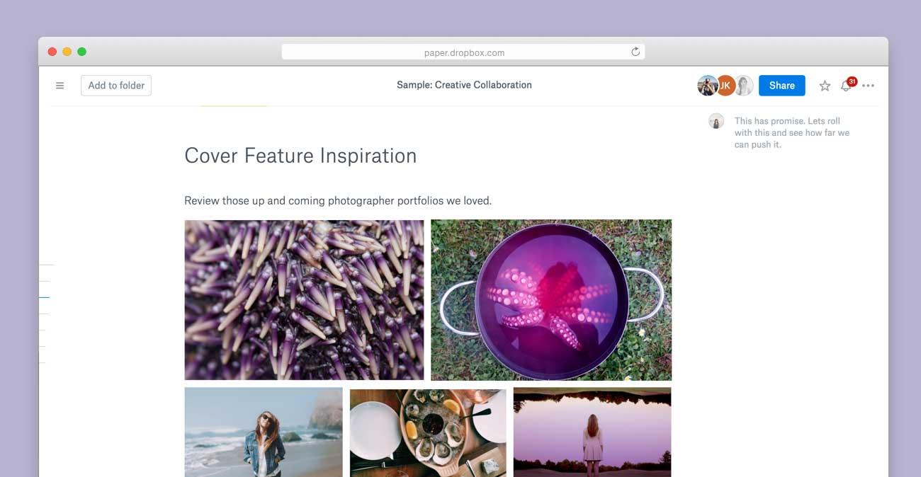 Captura de pantalla web de la galería de imágenes de Dropbox Paper 001