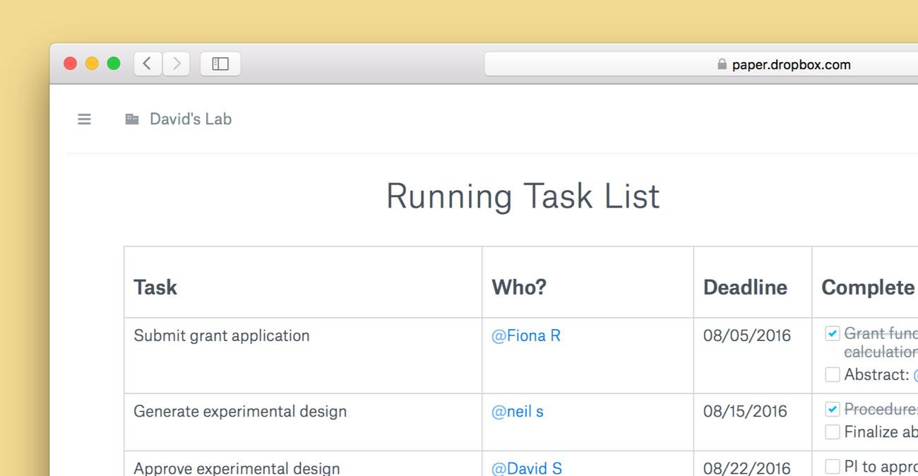 Captura de pantalla web de la lista de tareas de Dropbox Paper 001