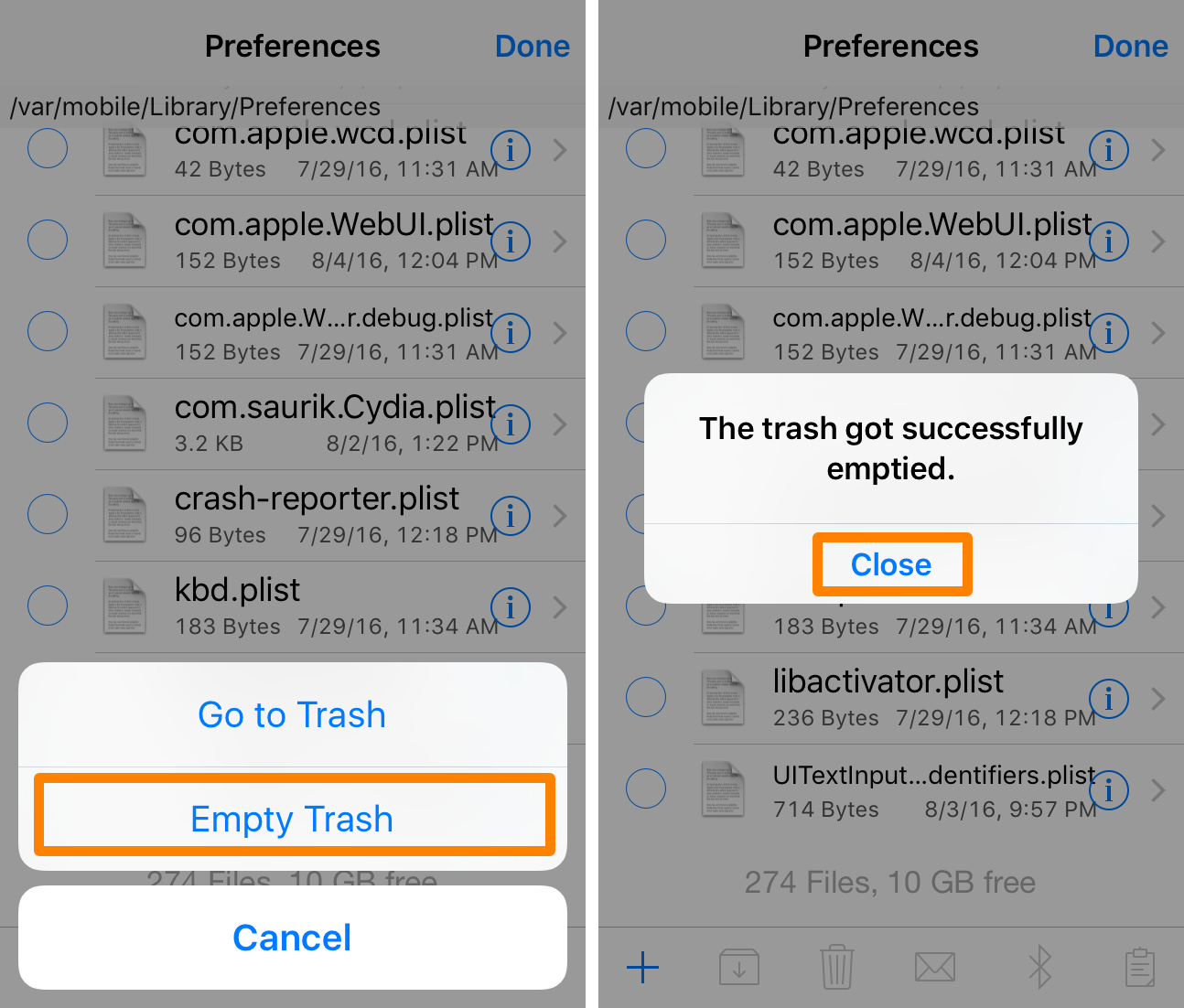 Empty Trash and Close iFile