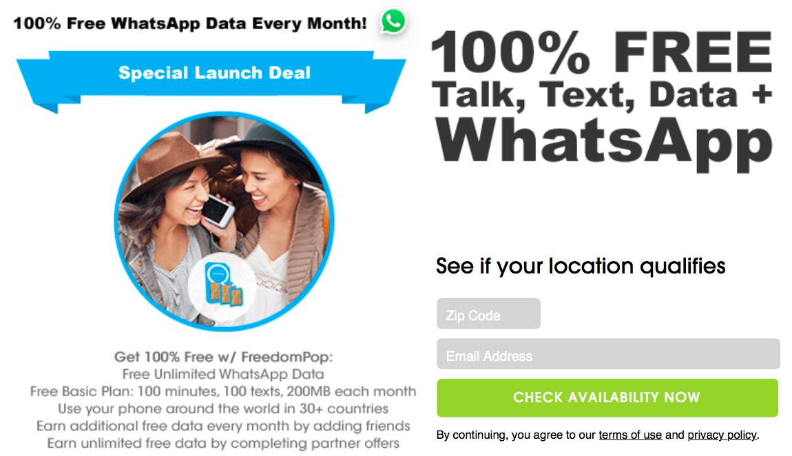 FreedomPop WhatsApp SIM teaser