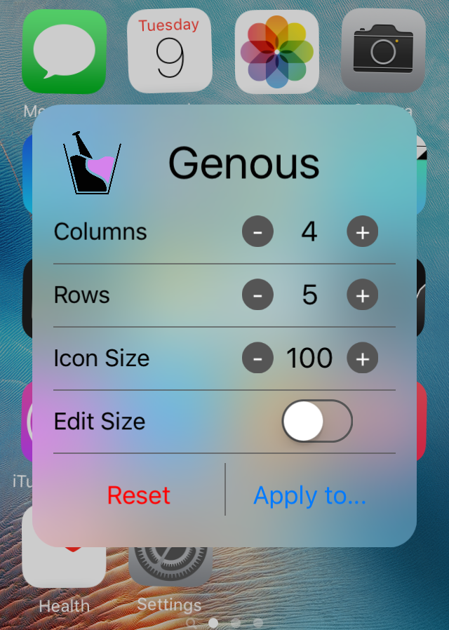 Genous Home Screen Editing Interface