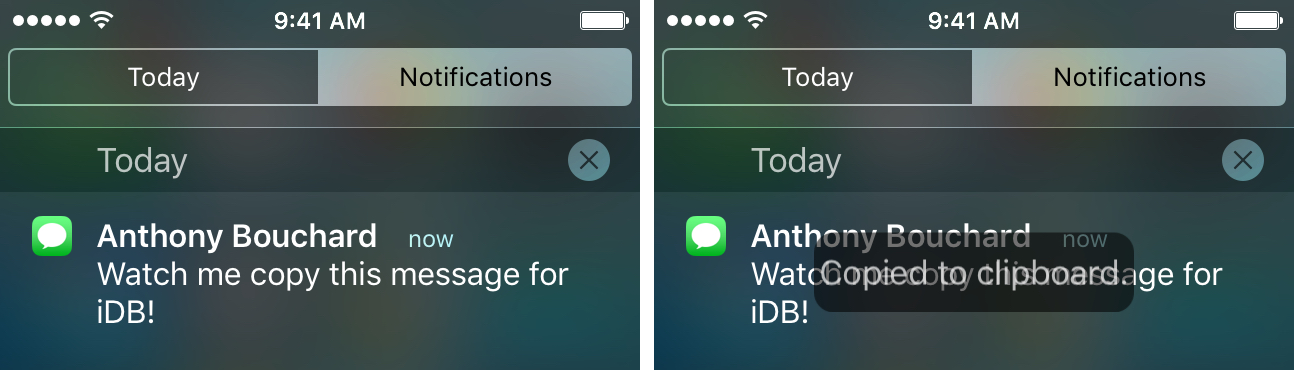 Notification Center NotiCopy Message
