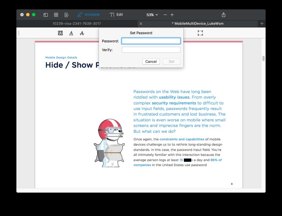 PDF Expert 2 para Mac establece la contraseña 001