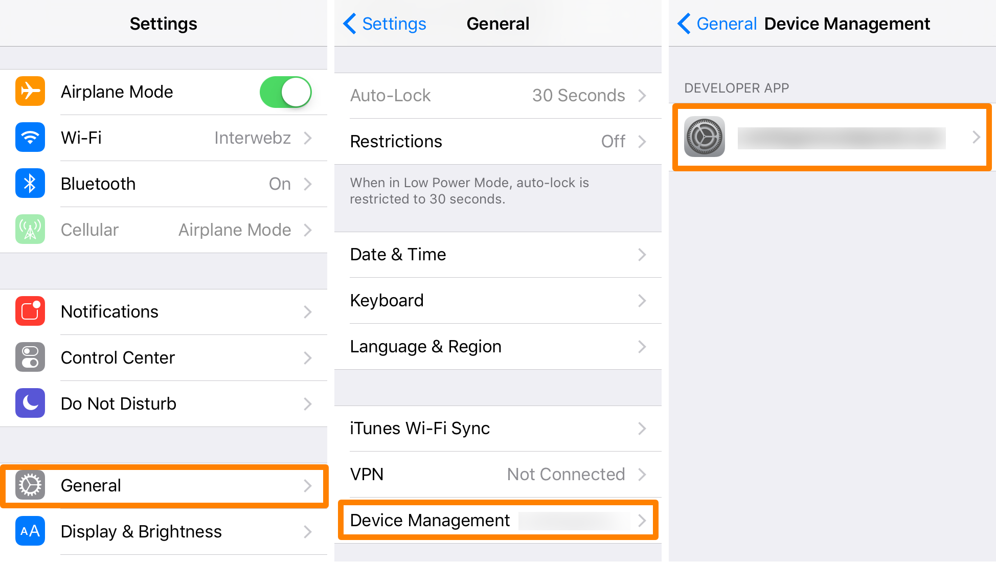 Pangu Settings Device Management