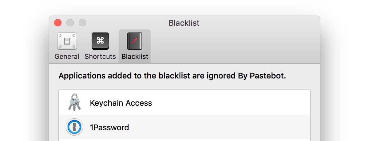 Pastebot for macOS blacklist Mac screenshot 001