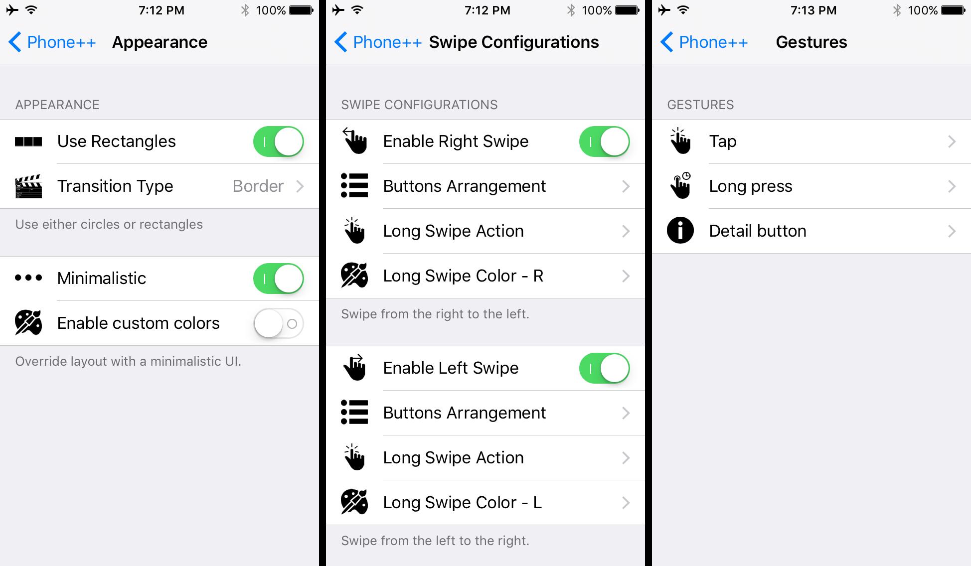 Phone plus plus options to configure
