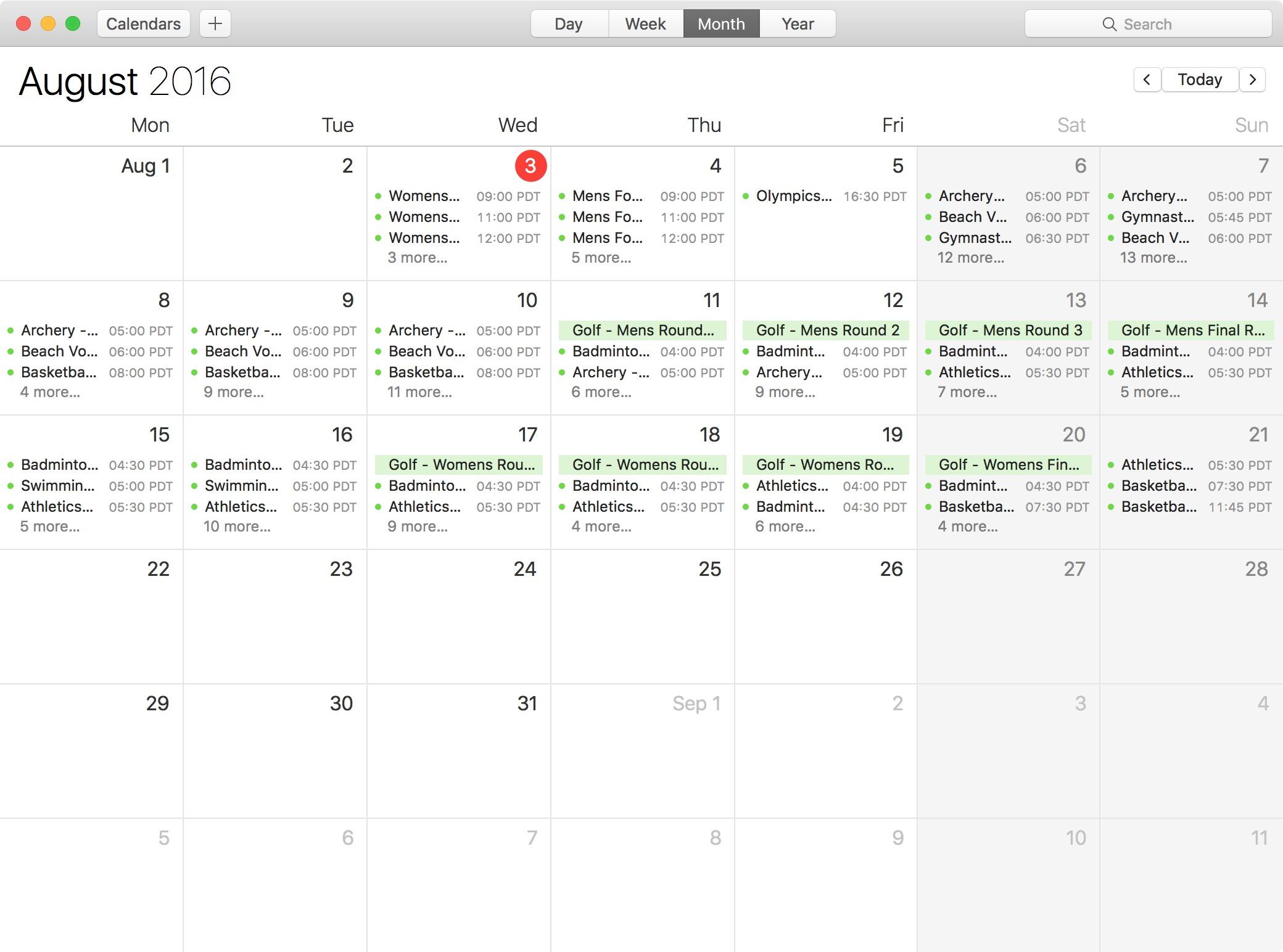 Subscribe 2016 Rio Olympics calendar Mac