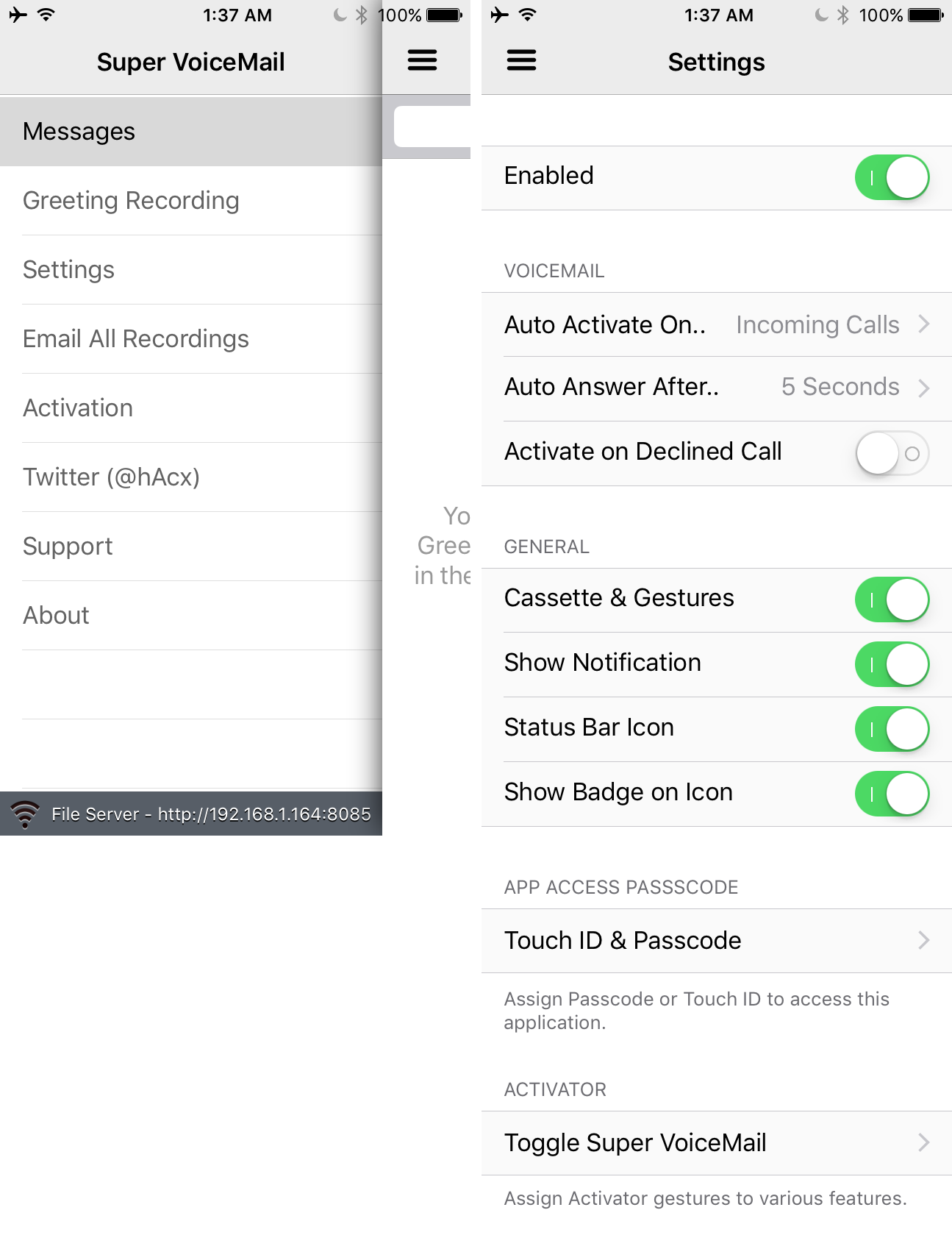 Super VoiceMail Settings