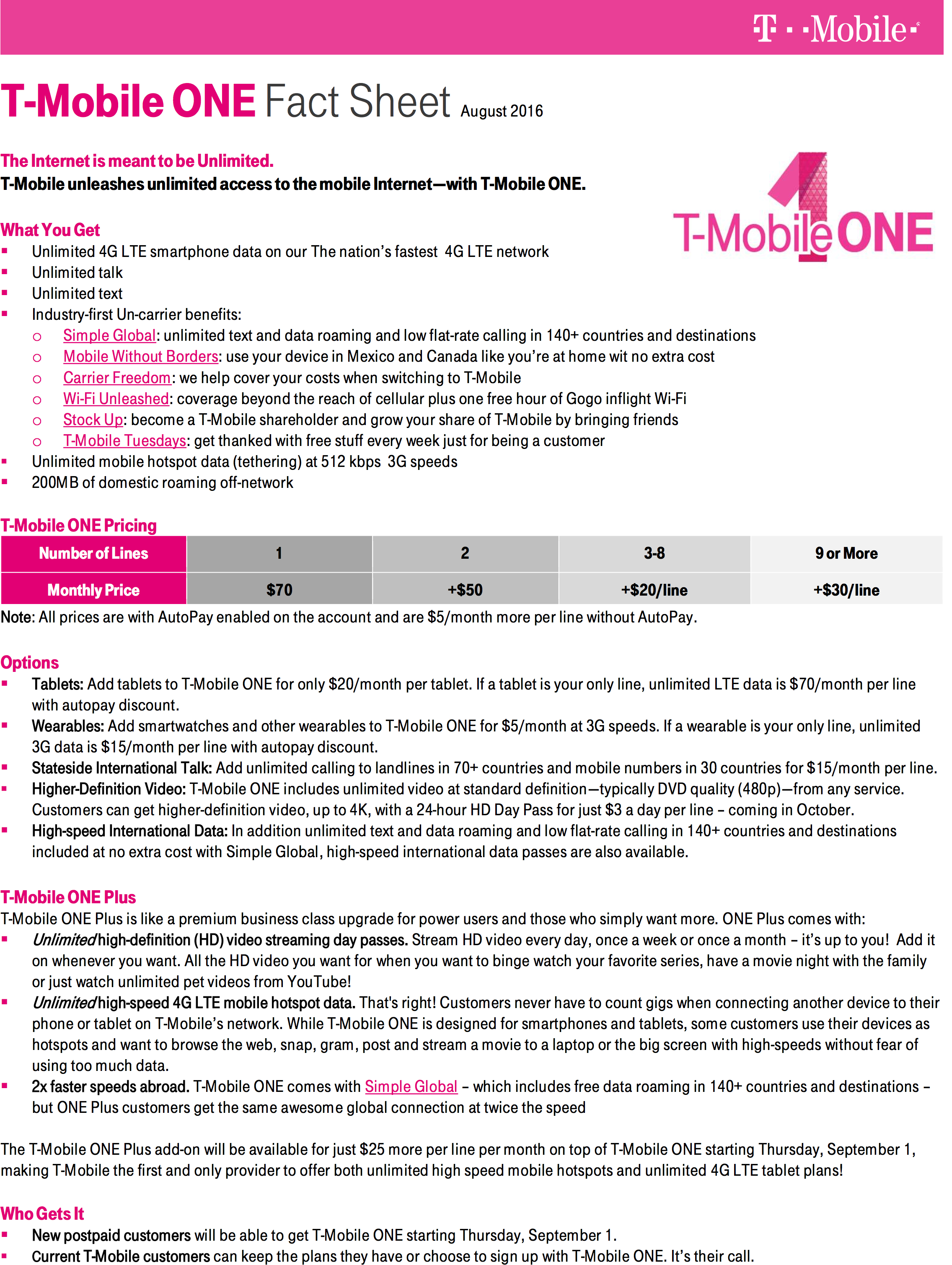 T-Mobile ONE fact sheet 002
