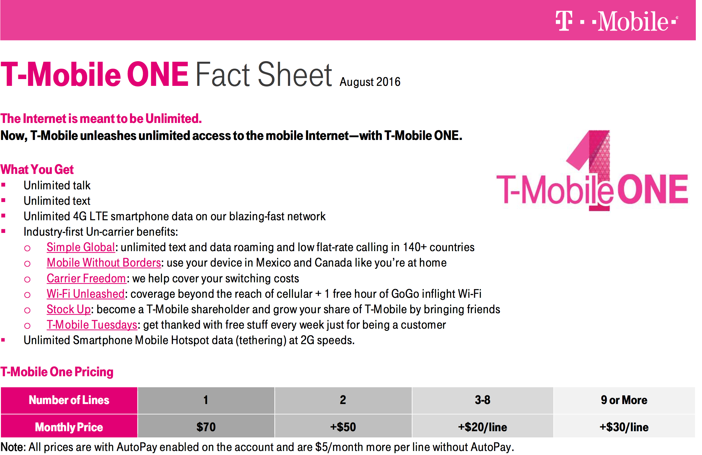 T-Mobile One Fact Sheet image 001