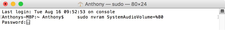 Terminal Mute to turn off startup sound mac