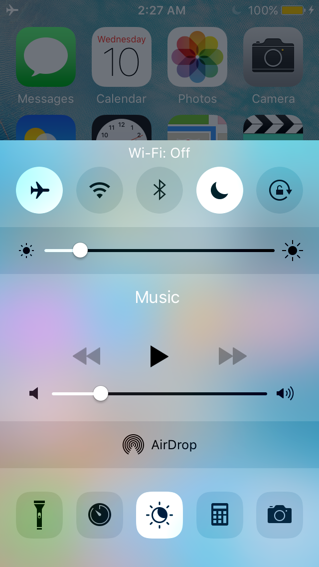Wi-Fi and Bluetooth off Control Center