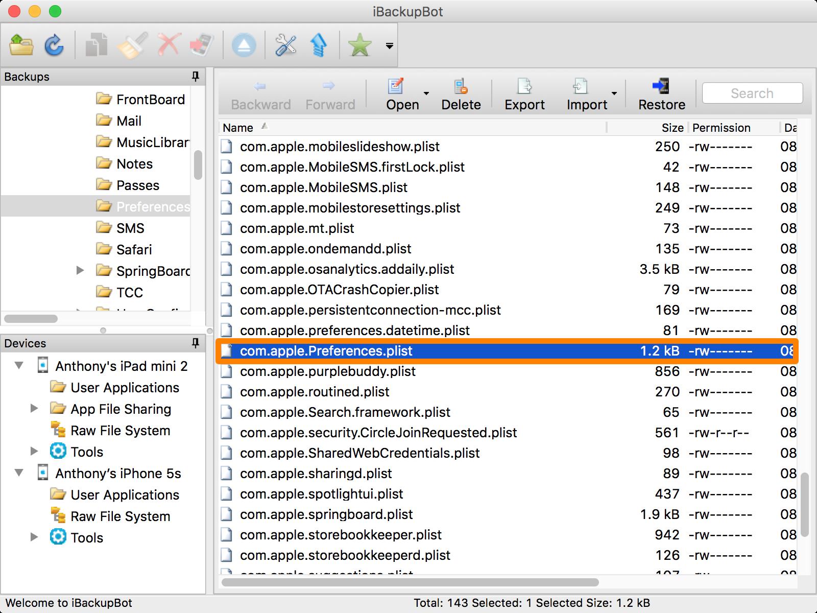iBackupBot File to Edit