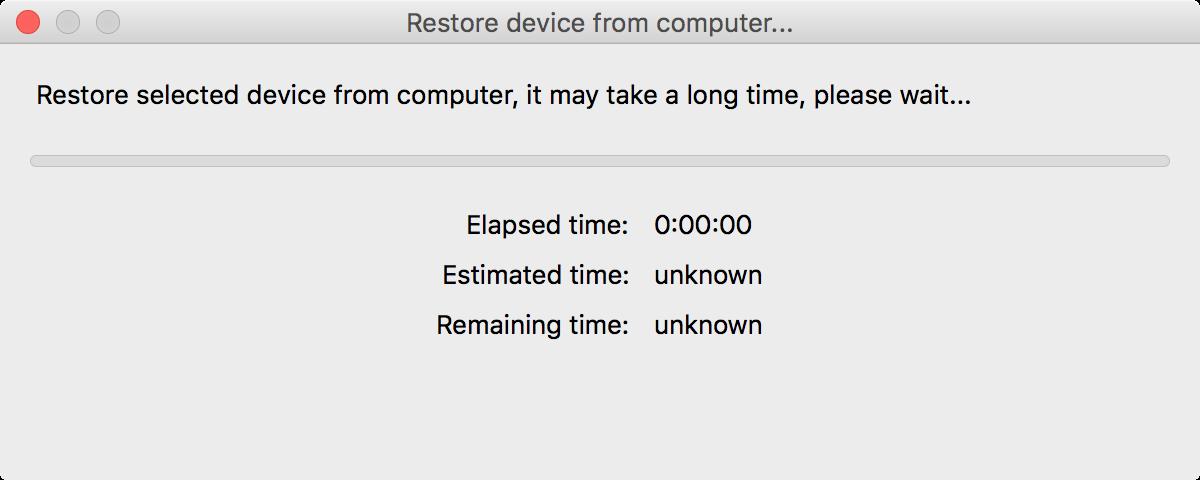iBackupBot Restoring Device