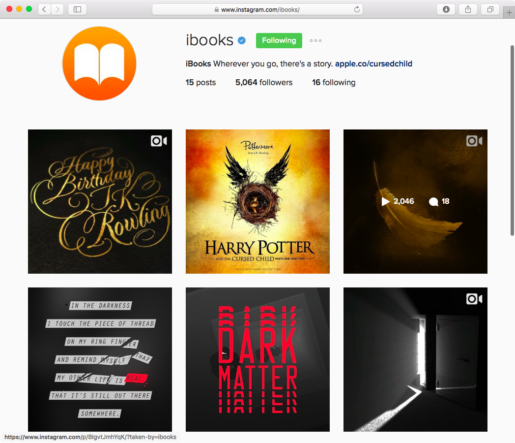 iBooks on Instagram web screenshot 001