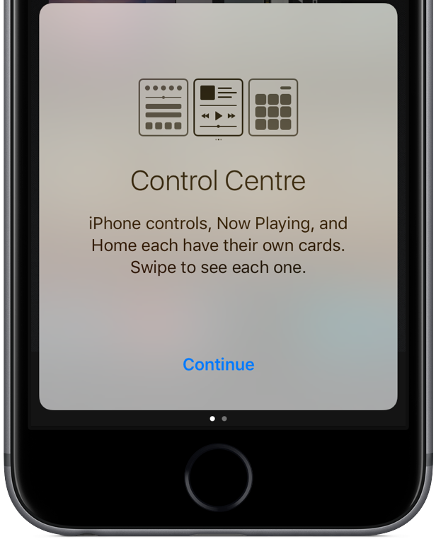iOS 10 Control Center splash screen space gray iPhone screenshot 001