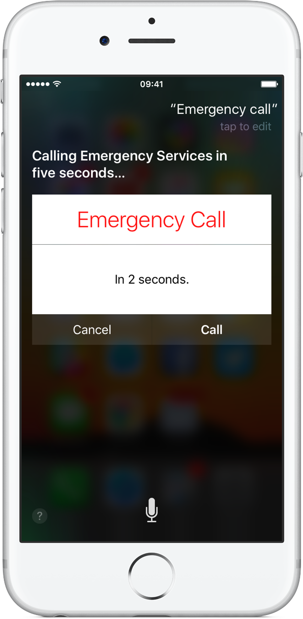 iOS 10 Siri Emergency Call silver iPhone screenshot 001