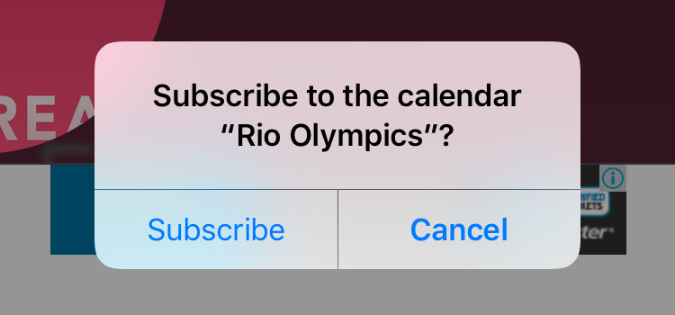 subscribe to 2016 Rio Olympics calendar iPad