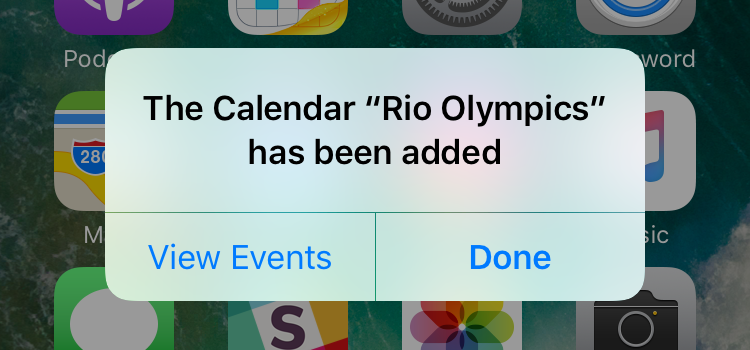 subscribe to 2016 Rio Olympics calendar iPhone ipad