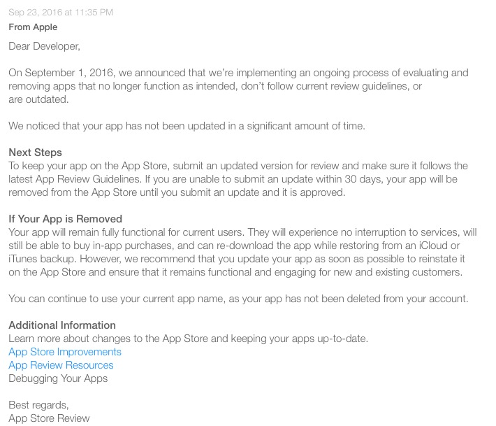 App Store purge developer message