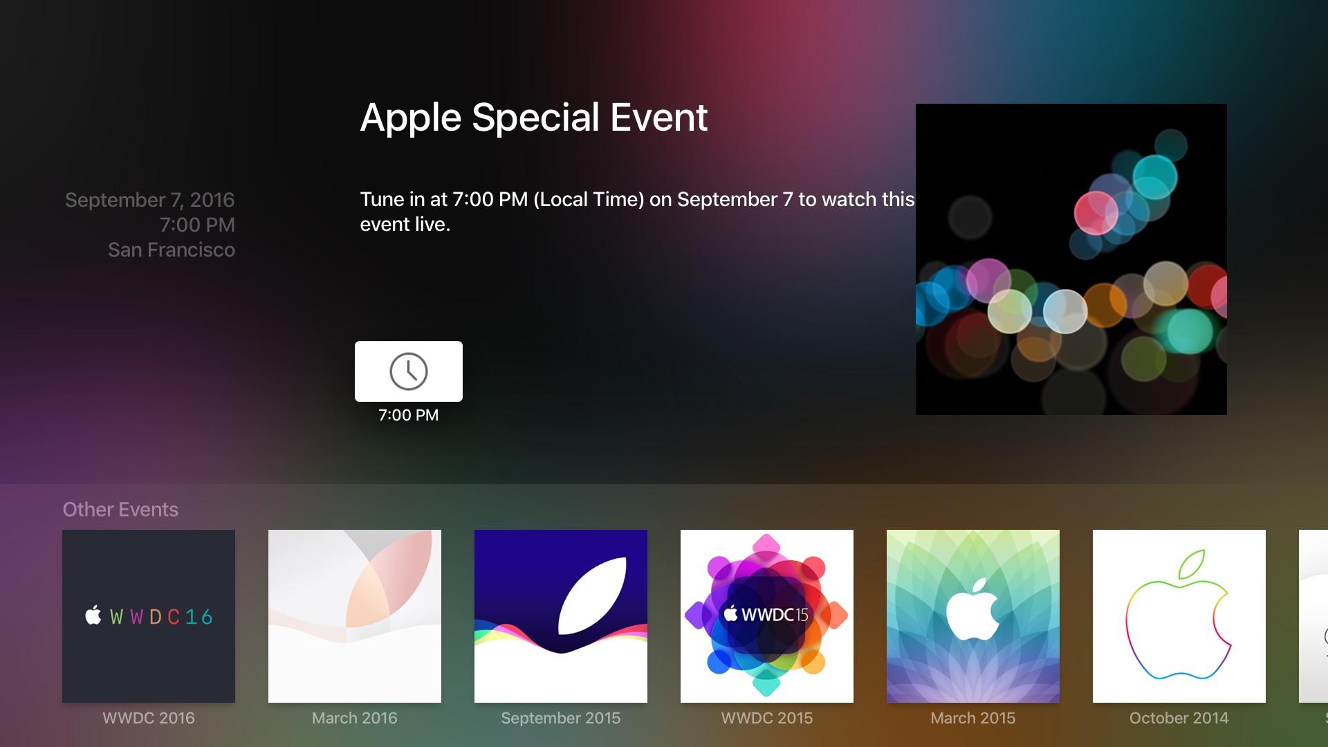 Apple Events app iPHone 7 keynote tvOS screenshot 002