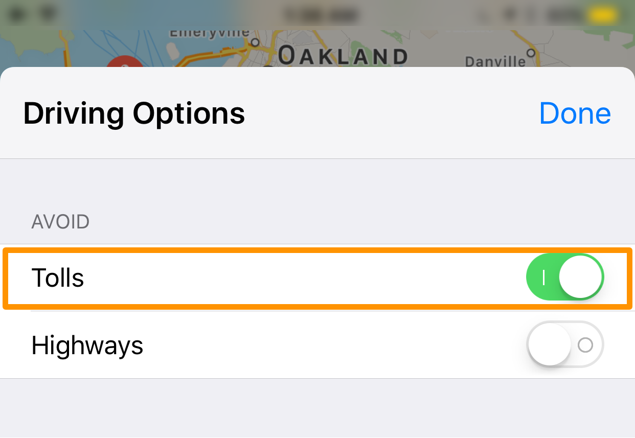 avoid toll roads Apple Maps app