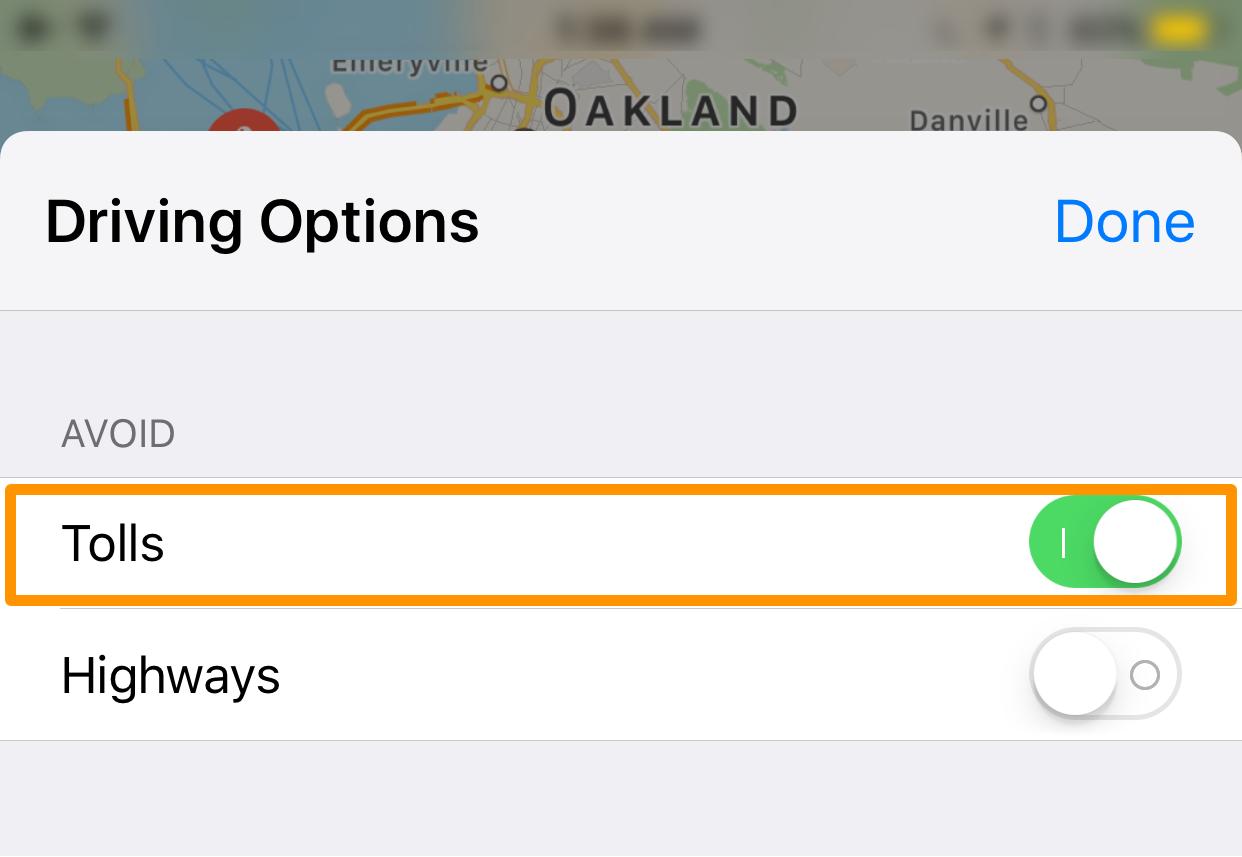 evitar las carreteras de peaje de la aplicación Apple Maps