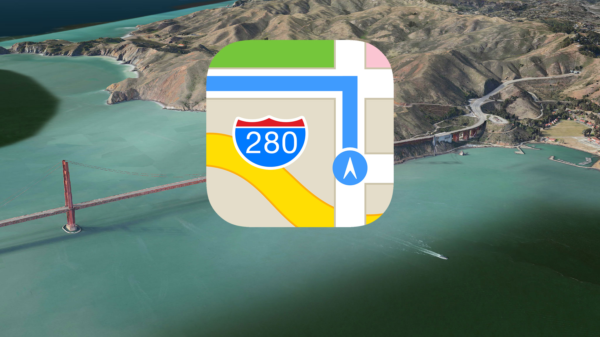 Apple Maps icon and aerial landscape shot