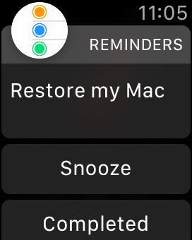 Aplicación de recordatorios en Apple Watch - notificación