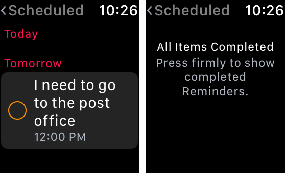 Reminders app on Apple Watch - scheduled list