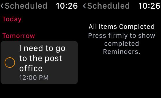 Aplicación de recordatorios en Apple Watch - lista programada