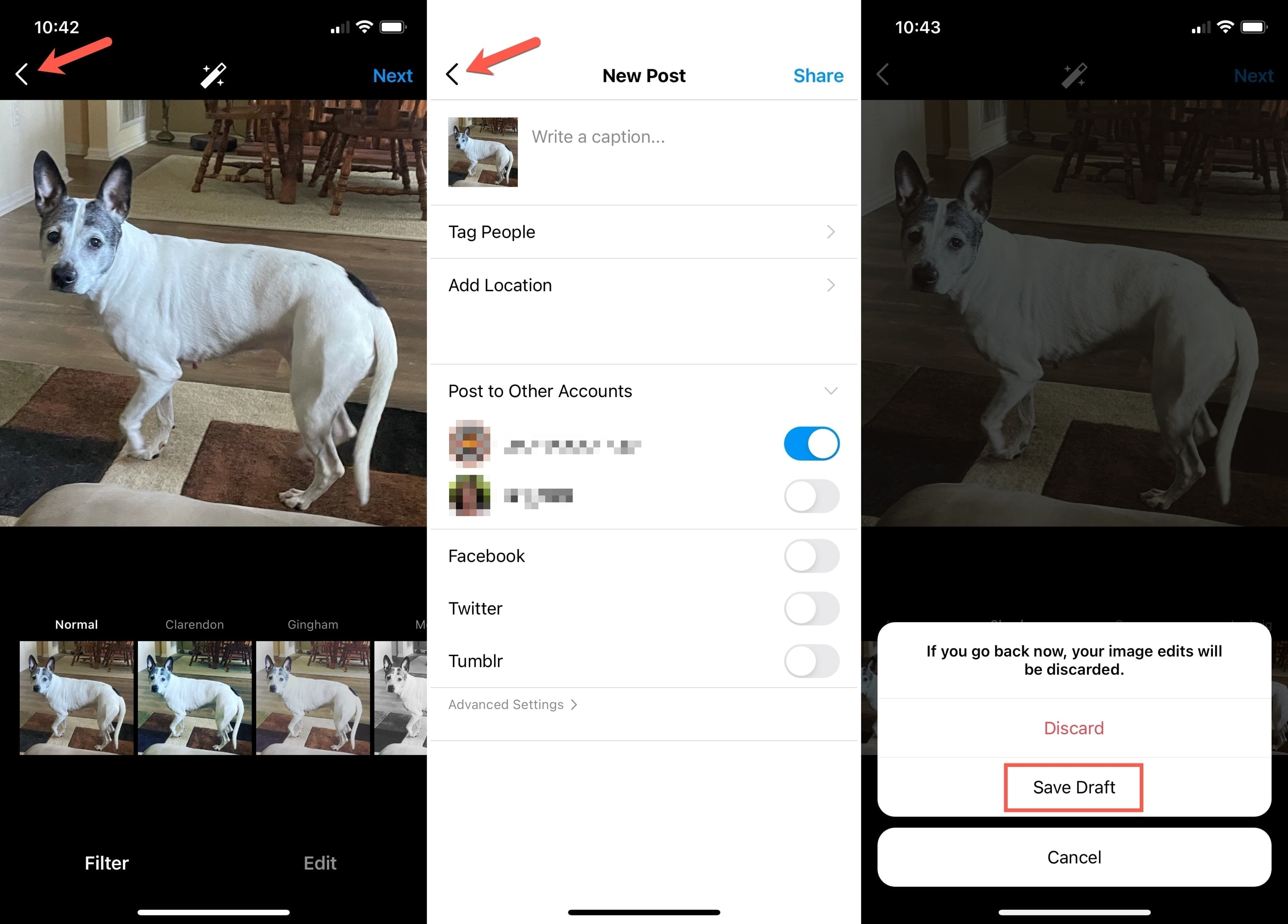 Instagram Tap Back and Save Draft