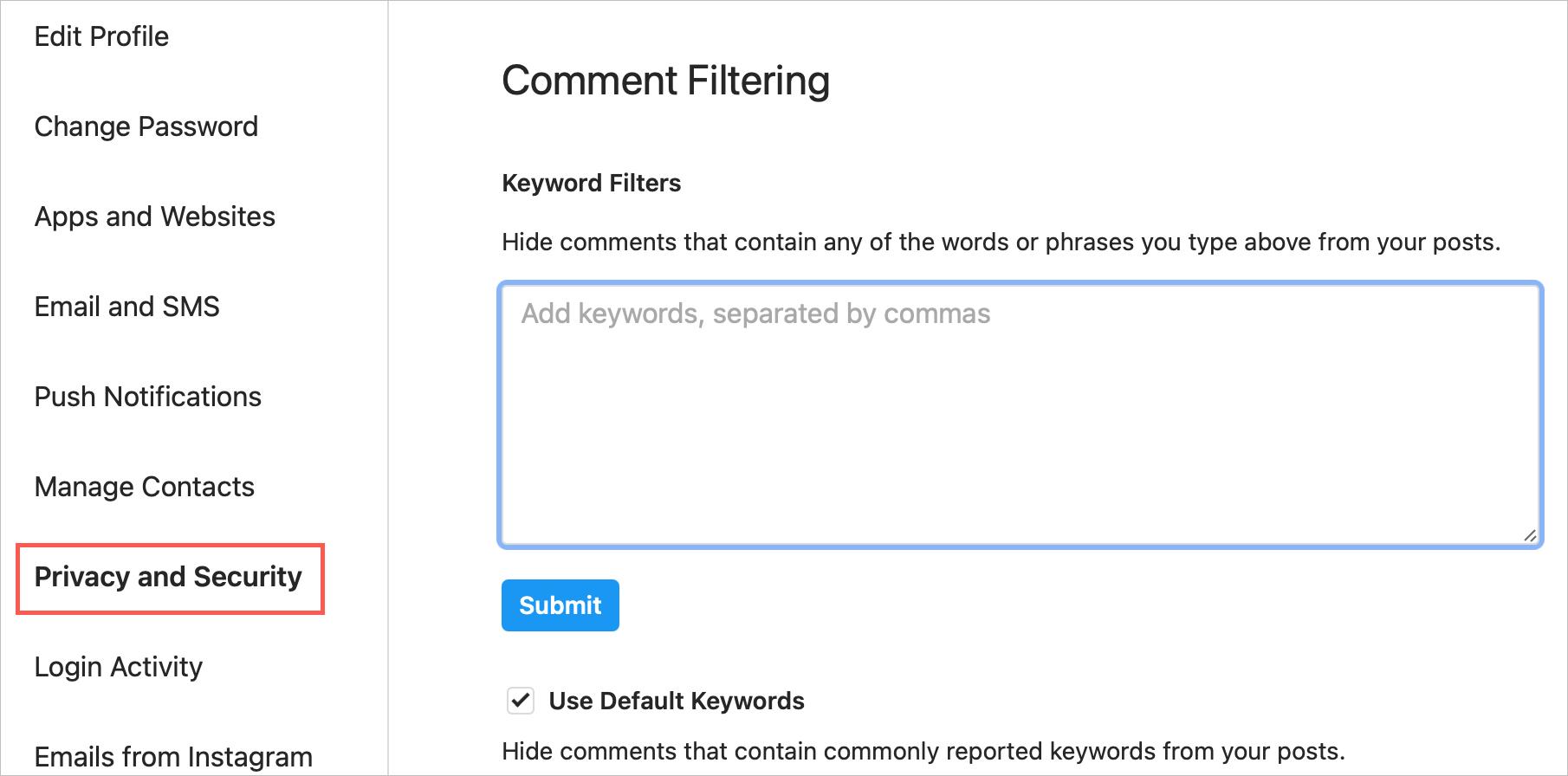 Instagram Comment Filtering Online