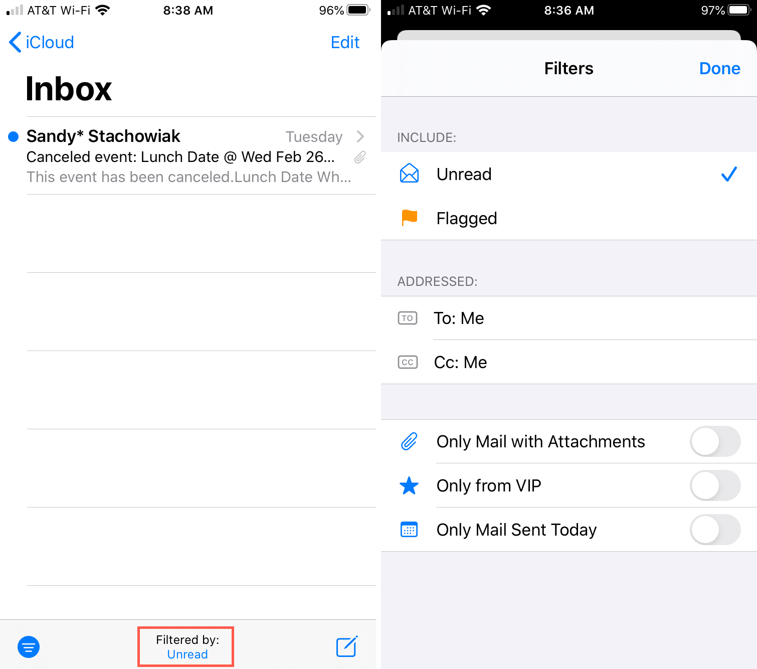 Mail Filter By Options iPhone