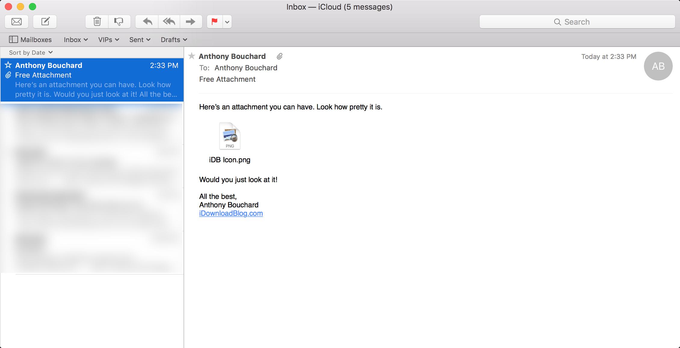 Archivo adjunto de correo convertido a icono Mac