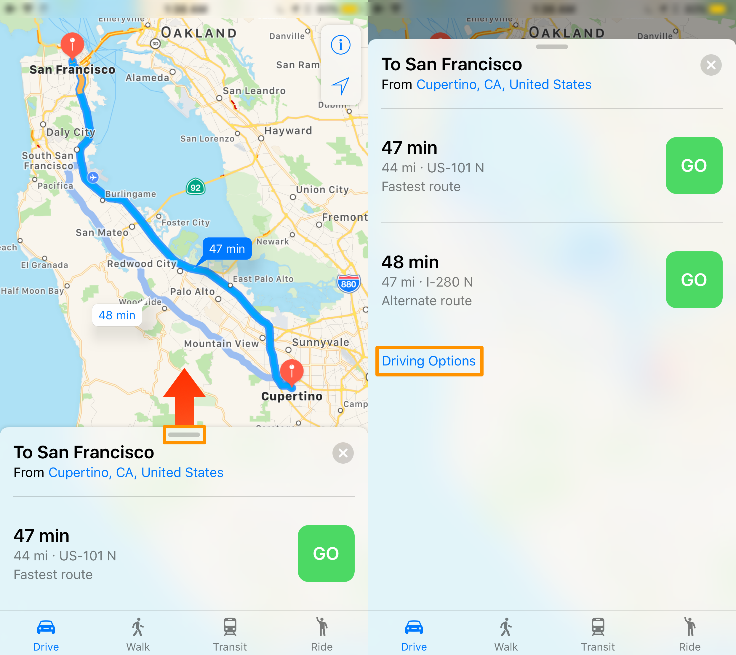 How to avoid toll roads in Apple Maps app