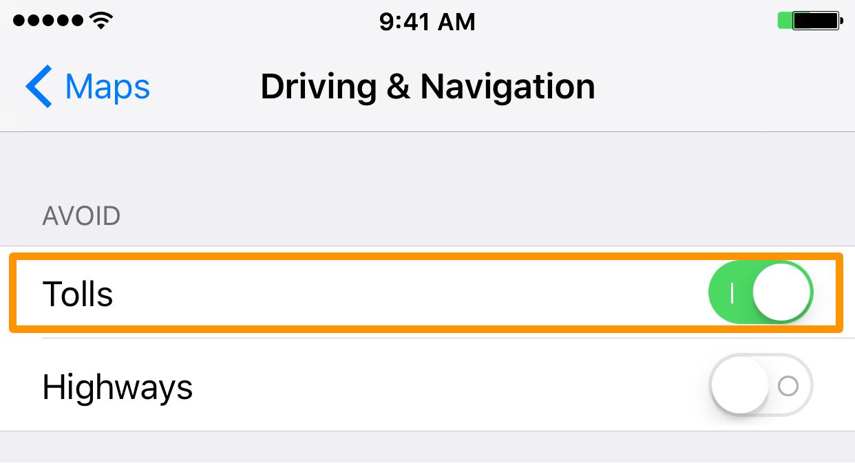 Mapas Peajes de conducción y navegación
