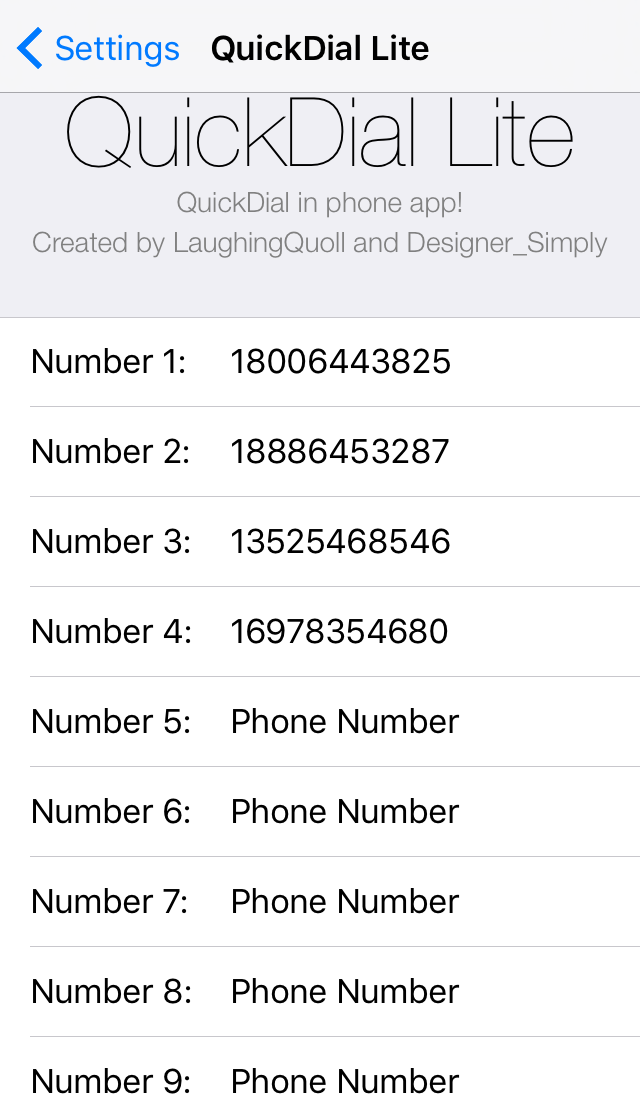 QuickDial Lite Preferences Pane Phone Numbers