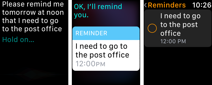 Reminders app on Apple Watch - using siri