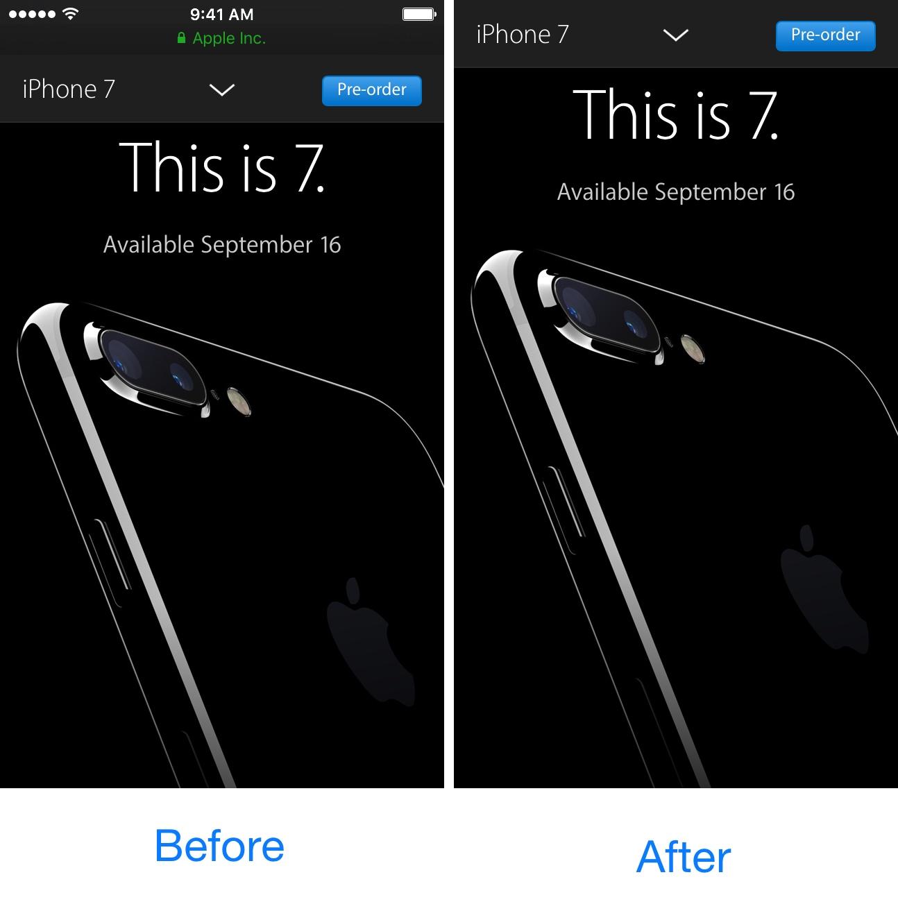 SafariFullScreenScrolling Before and After